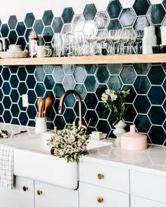 color palette: deep blue, metallics & white & light wood