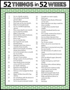 Cool idea: 52 things in 52 weeks--a way to set goals big and small to accomplish in a whole year. Bonding Activities, Activities For Adults, Self Care Activities, Family Activities, Self Confidence Tips, Journal Writing Prompts, 52 Weeks, Planner Pages, Life Organization