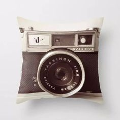 Vintage Camera Black and White Throw Pillow, Accent Cushion Cover – Rouse the Room