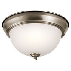 Antique Pewter 11.5-Inch Two-Light Flush Mount