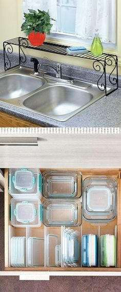 9-Use an over the sink shelf to maximize counter space. Use an expandable sink shelf to help declutter your counters and have additional shelving for your dish detergent and other items.