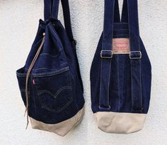 denim backpack upcycled jeans backpack big by UpcycledDenimShop