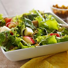 Spicy Apple-Walnut Salad with Fat-Free Balsamic-Raisin Dressing