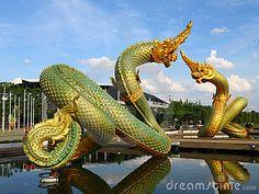 Naga statue at Thommasart University, Thailand