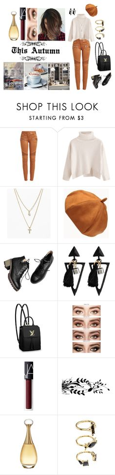 """This Autumn"" by kpopuk on Polyvore featuring Balmain, LOFT, Louis Vuitton, NARS Cosmetics, Christian Dior and Noir Jewelry"