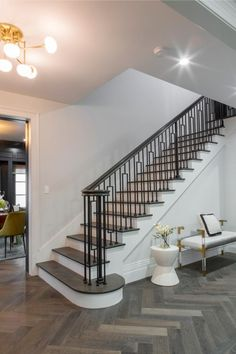gray stairs with white risers - Google Search Stairs In Living Room, Big Living Rooms, House Stairs, Home Living Room, White Stair Risers, Painted Stair Risers, Interior Stairs, Home Interior Design, Property Brothers At Home