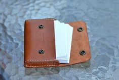 Leather Business Card Holder With Vintage Snaps by CLWorkshop