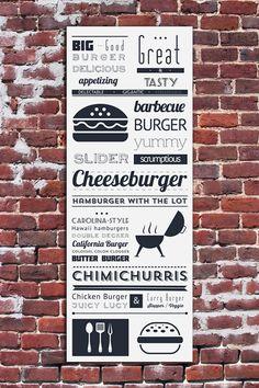 "Hamburger typographic poster typography print 5x10"" typographical art typography poster art print bbq cheeseburger kitchen decor"