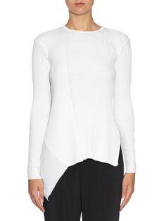 Asymmetric-hem ribbed-knit sweater   Stella McCartney   MATCHESFASHION.COM UK