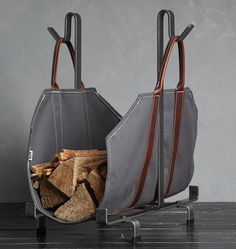 Echeer Canvas Firewood Bag with Leather Liner, Canvas Log Tote Bag Firewood Log Carrier Fireplace Fire Wood Log Carrying Sturdy Log Tote Bag