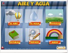 """""""Aire y agua"""" es una actividad totalmente interactiva de Vedoque en la que se prueban los conocimientos sobre las características físicas del aire y del agua y de su cuidado."""