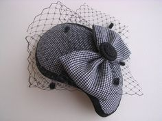 pied de poule fascinator vintage cocktail hat