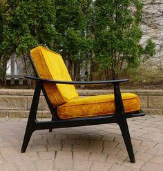 Ebonized Mid Century Modern Lounge Chair. $475
