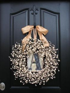 Personalized Wreath-... Isn't this great??~ I think I need to make one for our door!