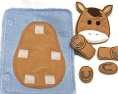 Horse build a book activity book add on page felt quiet book page #QB10