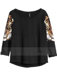 New Style Casual  Black Print Tiger Long Sleeves Women Hoddies