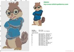 Simon from Alvin and the Chipmunks cross stitch pattern (click to view)