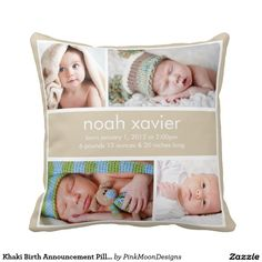 Khaki Birth Announcement Pillow