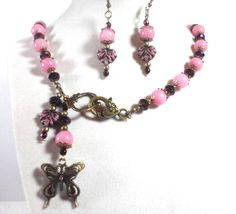 Pink Morganite, Czech Glass, Peacock Crystal, Toggle Clasp In Front, Bronze Butterflies & Accents, Necklace Earring Set