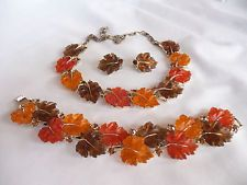 LISNER Fall Color Molded Jelly Lucite Leaf Rhinestone BRACELET EARRINGS NECKLACE