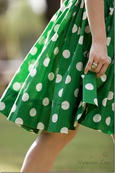 Green & White - Polka Dots