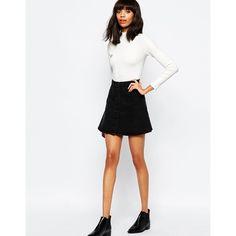 Monki Denim A-Line Skirt ($41) ❤ liked on Polyvore featuring skirts, black, high-waisted skirts, high waisted knee length skirt, monki, a line denim skirt and high-waist skirt