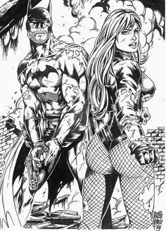 (DC Comics) Black Canary/ Batman (by JointForce) Black Canary, Black White Art, Comic Book Characters, Comic Books Art, Comic Art, Arte Dc Comics, Batman Art, Marvel Art, Superhero Coloring