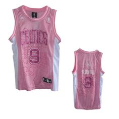Women Boston Celtics #9 Rajon Rondo Pink Jersey