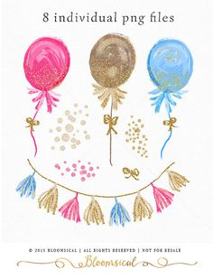 Chic hand painted party decoration clip art set perfect for New Year celebration: ♥ balloons decorated with tassels, glitters and bow ♥ matching garlands/buntings ♥pretty little gold bow ♥ glitter confetti The clipart collection is perfect for Party Decor, Scrapbooking, Website, Blogs, Celebration Occasions, Posters, Photography Marketing, Packaging and more! <♥<♥<♥ WHAT YOU WILL RECEIVE ♥>♥>♥> ♥ 8 high quality images ♥ All graphics together will fit a 12 inches pa...