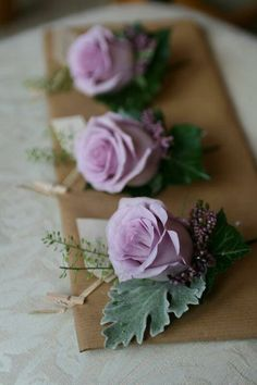 Purple Wedding Flowers Lavender colored boutonniere of lilac Ocean Song roses, senecio, heather, thlespi and ivy leaves. Lilac Wedding Flowers, Purple Wedding Bouquets, Bride Bouquets, Purple Flowers, Floral Wedding, Lavender Weddings, Flowers Uk, Order Flowers, Table Flowers