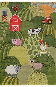 This is a rug, but it would make a great applique quilt for a child, or to be used as a wall hanging. Image only