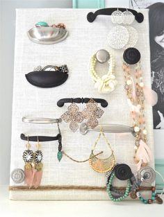 craft, idea, jewellery holder, diy jewelry holder, jewelry displays, hardware jewelry, jewelri, drawer pulls, knob