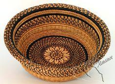 Straw Flower Pine Needle Basket handmade by HeartOfAlmanor