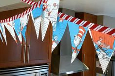 kojotutorial- cat in the hat bunting – kojodesigns Make Bunting, Create A Banner, Cat In The Hat Party, Dr Seuss Crafts, Hat Decoration, Decorations, Curious George Party, Dr Seuss Baby Shower, Pennant Banners