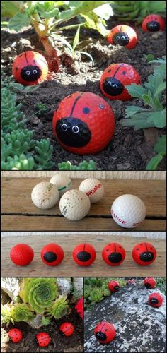 Got some old golf balls at home? Then recycle them and make Golf Ball Ladybugs! Got some old golf balls at home? Then recycle them and make Golf Ball Ladybugs! Got some old golf balls at home? Then recycle them and make Kids Crafts, Art Crafts, Kids Diy, Kids Outdoor Crafts, Kids Garden Crafts, Garden Gifts, Garden Projects, Craft Projects, Golf Ball Crafts