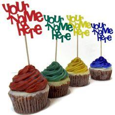 Monogram Cupcake Toppers -  set of 12. $9.00, via Etsy.
