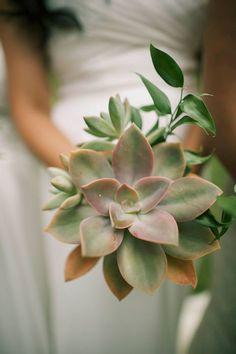 Unique succulent wedding bouquet -Anna Kim Photography