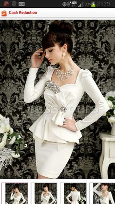 Elegant Slim Knot Bows Long Sleeve Midi Dress @ dressyours.com I am going to pretend the skirt is longer then it is