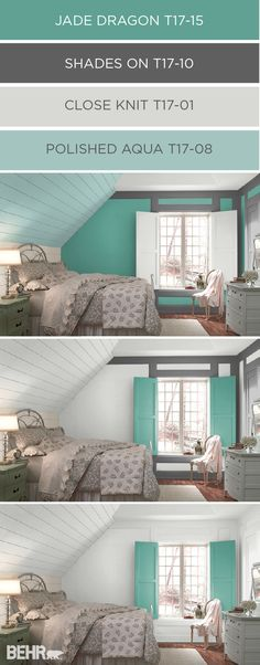 The ColorSmart tool by BEHR helps you plan and preview the perfect color palette for any room in your home. Experiment with different color combinations as you design your ideal space. This charming cottage bedroom is completely transformed with the addition of Jade Dragon on the walls and Polished Aqua on the sloped ceiling.