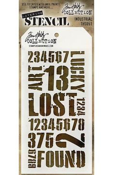 TIM HOLTZ: Layering Stencil (Industrial) Use these stencils to layer with inks, paints, stamps and more.This package contains one 8-1/2x4-1/8 inch stencil. *Try using some of our MIXED MEDIA paints or