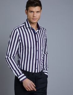 8612833d Men's Curtis Purple & White Stripe Slim Fit Shirt with Contrast Detail - Single  Cuff