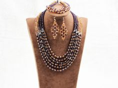 Splendid 6 Layers Purple Yellow Crystal Beads African Wedding Jewelry Set (Necklace With Mathced Bracelet And Earrings)
