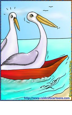 Pelican hitching a ride in a boat Donald Duck, Funny Animals, Disney Characters, Fictional Characters, Cartoons, Boat, Humor, Animated Cartoons, Cartoon