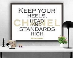 "Coco Chanel Quote, ""Keep your heels,head..."", Printable Art, Printable Quote, Inspiring Motivational Quote, Instant Download, Wall Art Print"
