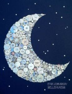 Crescent Moon and Stars Buttons Brads Custom Wall Art via Etsy Crafts To Make, Fun Crafts, Arts And Crafts, Diy Buttons, Vintage Buttons, Crafts With Buttons, Star Buttons, Button Wall Art, Button Art On Canvas