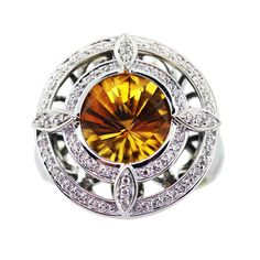 14K White Gold, Diamond and Citrine Deco Diva Cocktail Ring