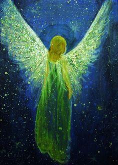 Original Angel Painting Healing Energy CCArtist Breten Bryden, BrydenArt.com #Impressionism