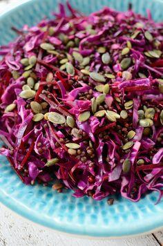 Salada de repolho e lentilhas para o Ano Novo