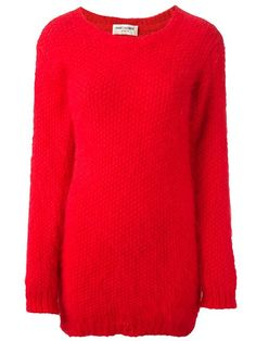 Shop Saint Laurent thick knit long sweater in Il Bacio Di Stile from the world's best independent boutiques at farfetch.com. Over 1000 designers from 60 boutiques in one website.