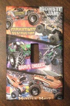 Monster Jam Grave Digger, Maximum Destruction & Monster Mutt Light Switch Cover